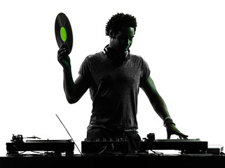 disc jockey man silhouette