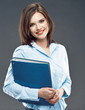 Beautiful smiling student girl hold office paper folder