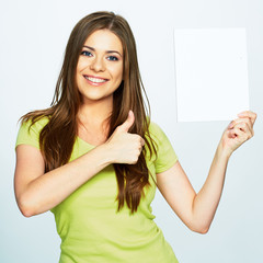 thumb up show . woman hold white banner
