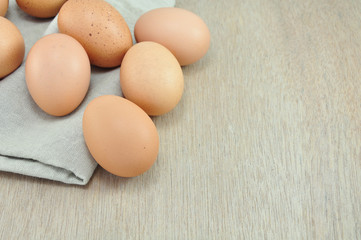 Eggs on Fabric  Background