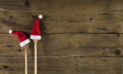 Speisekarte oder Menükarte zu Weihnachten: Hintergrund Holz