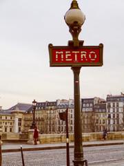 Retro look Metro sign in Paris