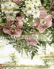 Fresh flowers bouquet  .Grunge background