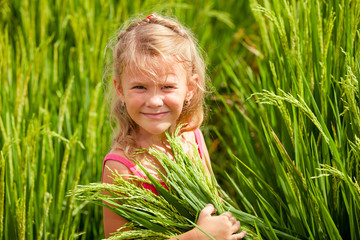 little girl on the rice paddies