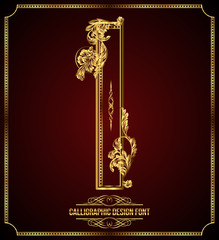 Calligraphic Design Font with Typographic Floral Elements. I