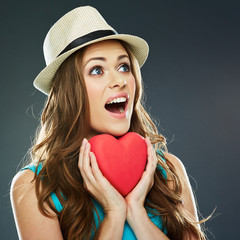 smiling woman face . red heart . valentine d