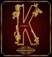 Calligraphic Design Font with Typographic Floral Elements. K