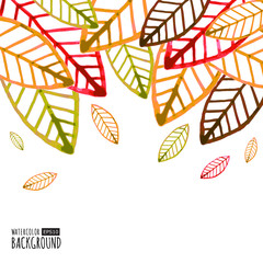 Watercolor vector background with colorful autumn leaves.