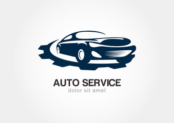 Illustration of abstract sport car with gears cogs. Vector logo