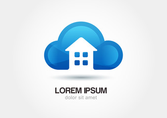 Cloud emblem with house silhouette. Abstract vector logo icon te