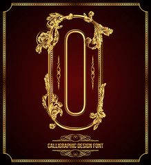 Calligraphic Design Font with Typographic Floral Elements. O