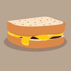 bread with melted cheese. vector illustration