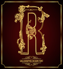 Calligraphic Design Font with Typographic Floral Elements. R