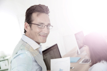 Attractive 40-year-old man in business training