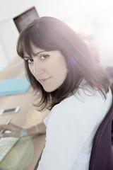 Portrait of brunette girl in professional training