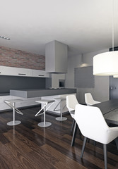 Modern loft dining room interior.