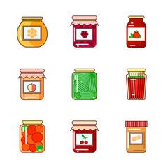 Set of jars with honey, jam and vegetables