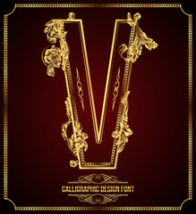 Calligraphic Design Font with Typographic Floral Elements. V