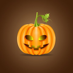 Halloween pumpkin head isolated on brown background