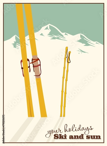 Winter  background. Mountains and ski equipment in the snow - 71028695