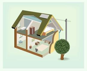 Vector isometric house cutaway icon