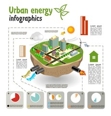 Urban energy, infographics template for your design. Vector