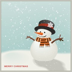 Christmas Snowman with hat and striped scarf