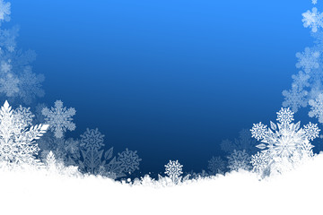 Beautiful blue Christmas background with snowflakes