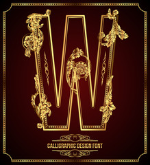 Calligraphic Design Font with Typographic Floral Elements. W