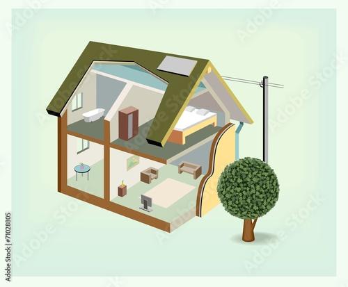 Vector isometric house cutaway icon - 71028805