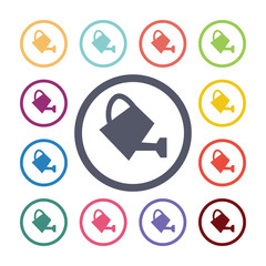 watering can flat icons set.