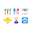 Kitchen set colored icons menu
