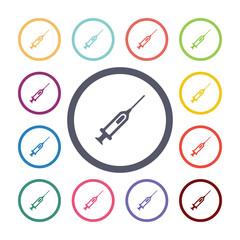 syringe flat icons set.