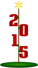 Happy new year 2015 sign on rod with star