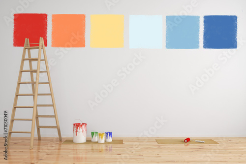canvas print picture Kombination von Wandfarbe als Muster an Wand