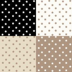 Stars seamless pattern. Vector set.