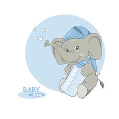 It's a boy! Vector illustration of cute little elephant.