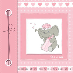 Baby girl shower card with cute elephant. Vector