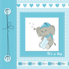 Baby boy shower card with cute elephant. Vector