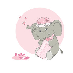 It's a girl ! Vector illustration of cute little elephant.