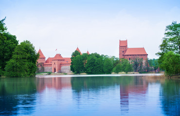 Trakai castle view from the vilage