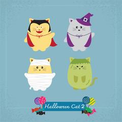 Set of cute cat in Halloween costumes