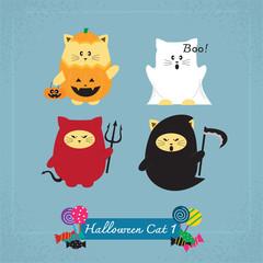 et of cute cat in Halloween costumes