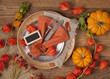 canvas print picture - Autumn table setting