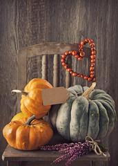Green and orange pumpkins