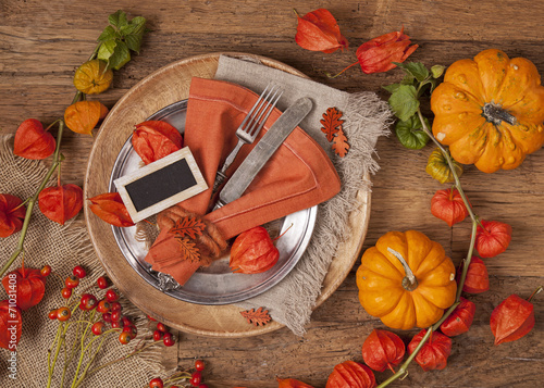 canvas print picture Autumn table setting