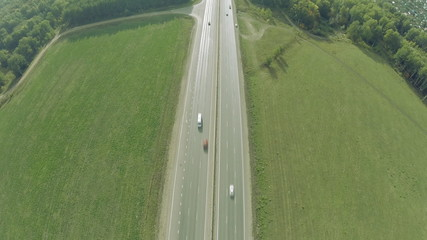 Highway road car top view Route