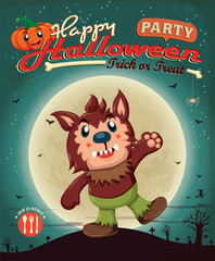 Vintage Halloween poster design with wolfman