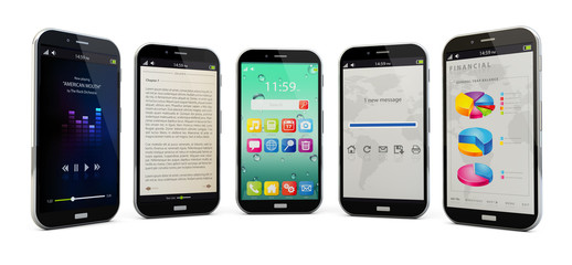 five smartphones isolated
