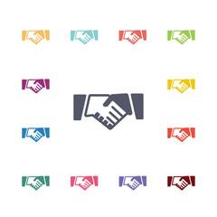 handshake flat icons set.